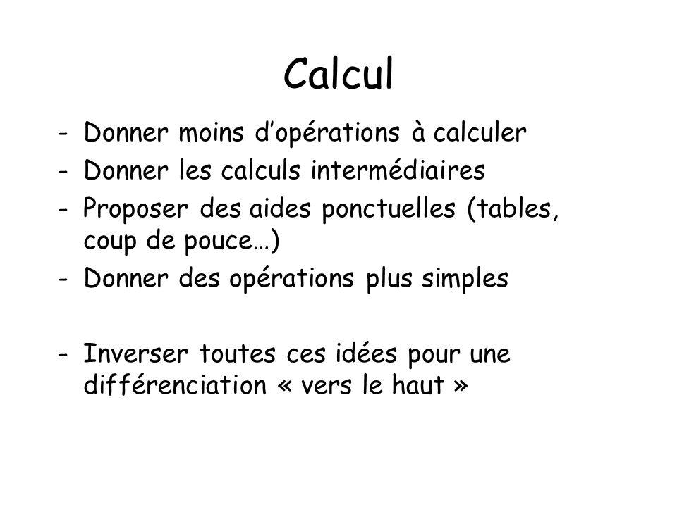 Calcul -Donner moins dopérations à calculer -Donner les calculs intermédiaires -Proposer des aides ponctuelles (tables, coup de pouce…) -Donner des op