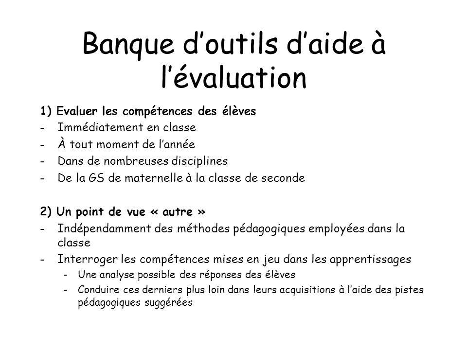 Banque doutils daide à lévaluation 1) Evaluer les compétences des élèves -Immédiatement en classe -À tout moment de lannée -Dans de nombreuses discipl