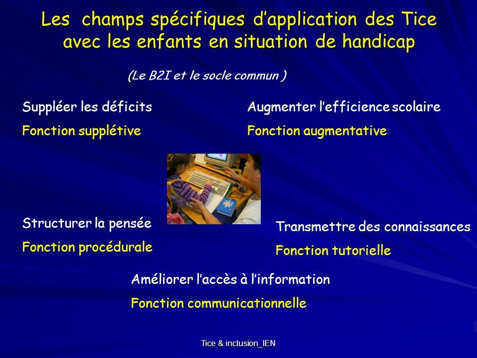 Tice & inclusion_IEN Les champs spécifiques dapplication des Tice avec les enfants en situation de handicap Suppléer les déficits Fonction supplétive
