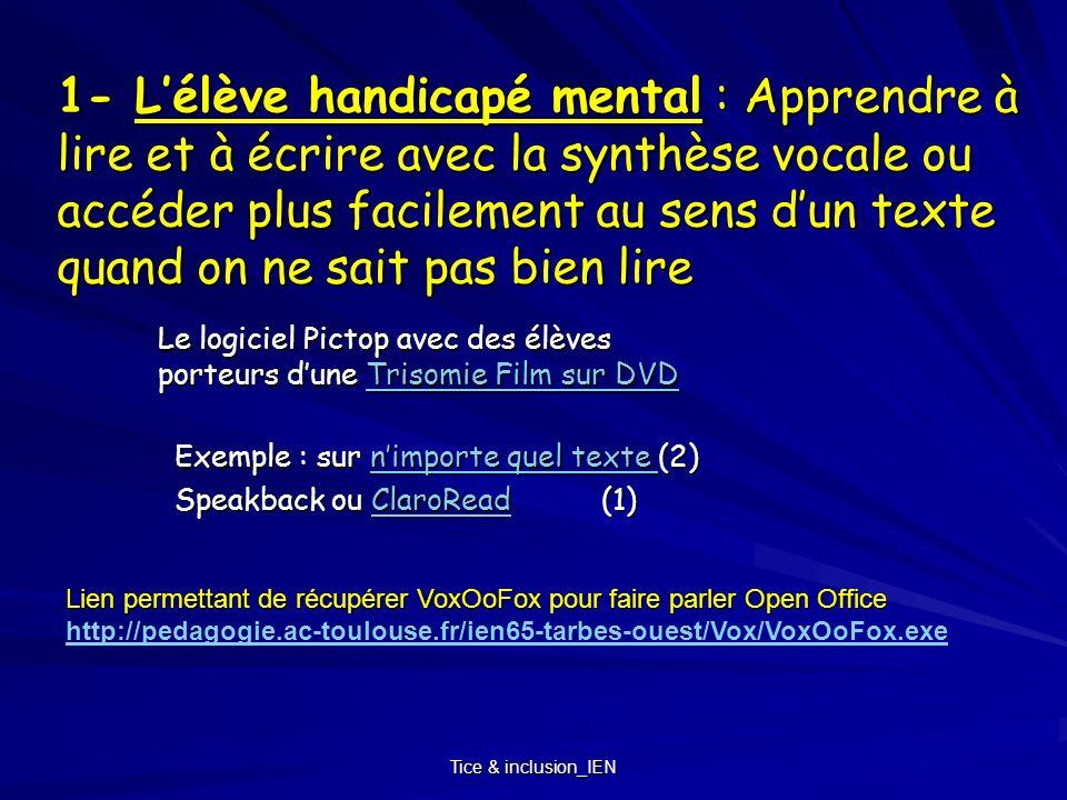 Tice & inclusion_IEN 1- Lélève handicapé mental : Apprendre à lire et à écrire avec la synthèse vocale ou accéder plus facilement au sens dun texte qu