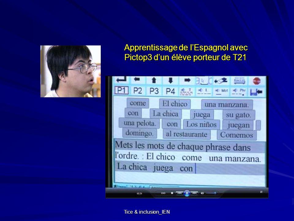 Tice & inclusion_IEN Apprentissage de lEspagnol avec Pictop3 dun élève porteur de T21