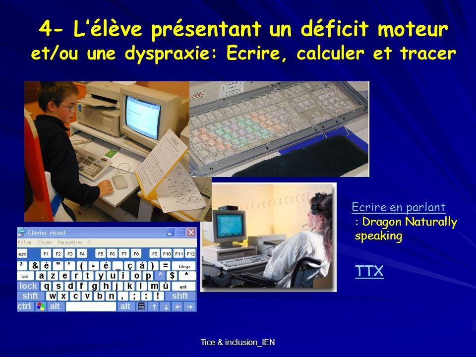 Tice & inclusion_IEN 4- Lélève présentant un déficit moteur et/ou une dyspraxie: Ecrire, calculer et tracer Ecrire en parlant : Dragon Naturally speak