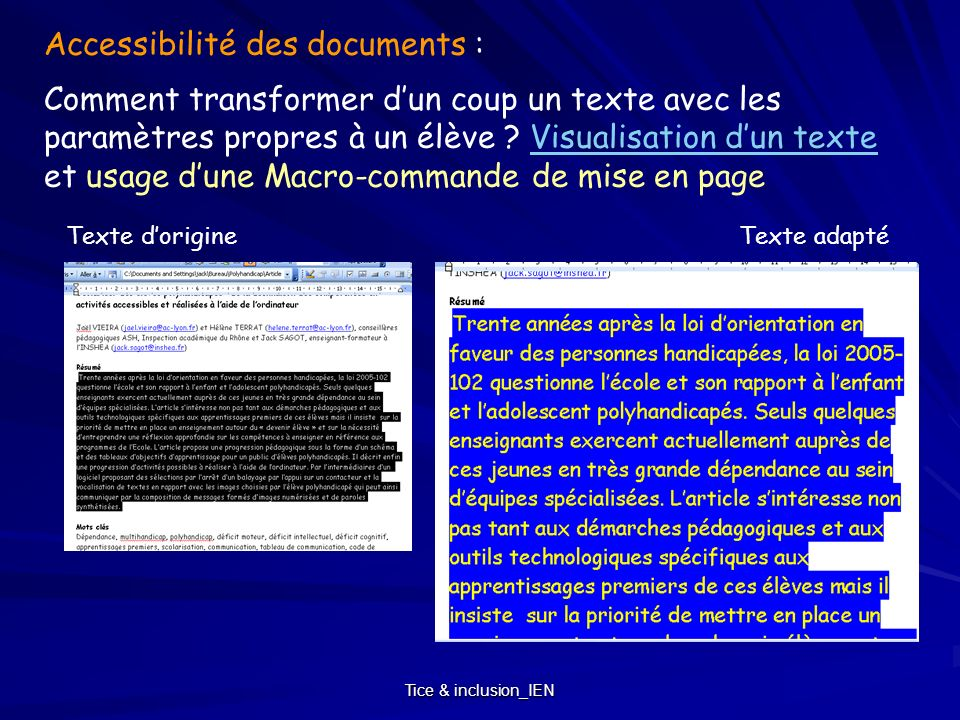 Tice & inclusion_IEN Accessibilité des documents : Comment transformer dun coup un texte avec les paramètres propres à un élève ? Visualisation dun te
