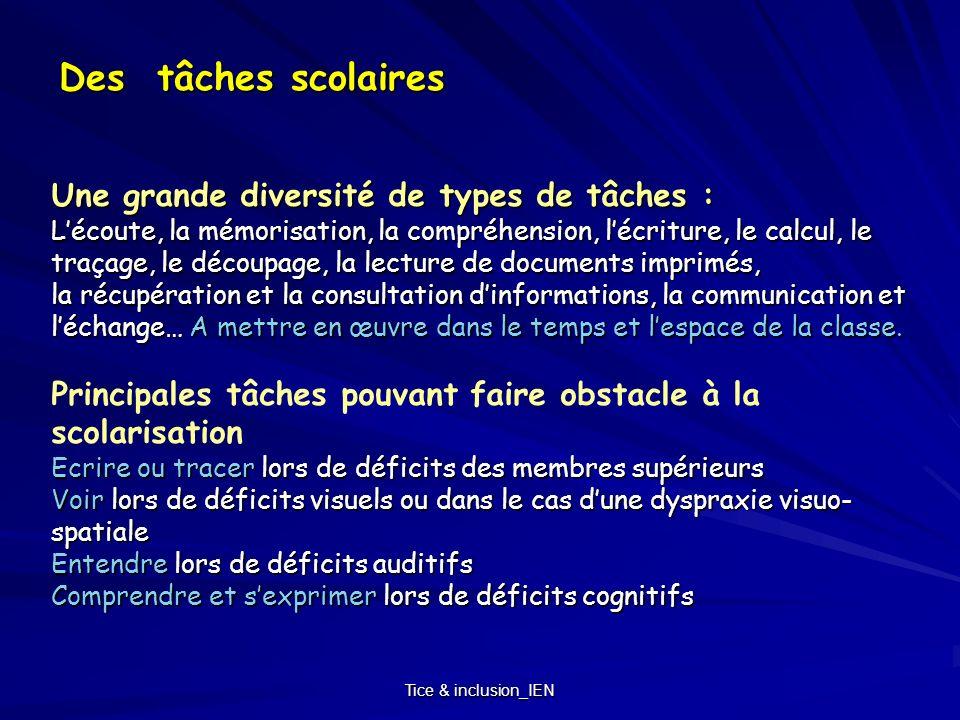 Tice & inclusion_IEN Des tâches scolaires Une grande diversité de types de tâches : Lécoute, la mémorisation, la compréhension, lécriture, le calcul,