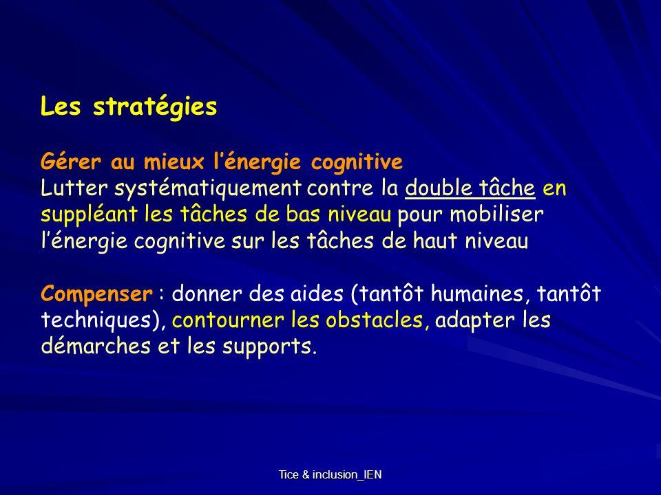 Tice & inclusion_IEN Les stratégies Gérer au mieux lénergie cognitive Lutter systématiquement contre la double tâche en suppléant les tâches de bas ni
