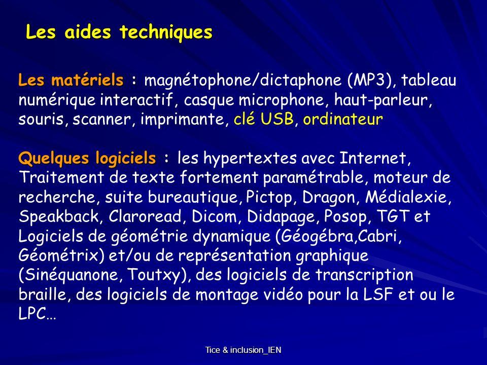 Tice & inclusion_IEN -Rendre facilement accessible lordinateur de lélève (module accessibilité de lordinateur) -Numériser un maximum de documents scolaires, point de départ des adaptations de presque tous les supports -Structurer les documents pédagogiques (feuille de style et les liens hypertextes) pour faciliter la manipulation et la navigation.