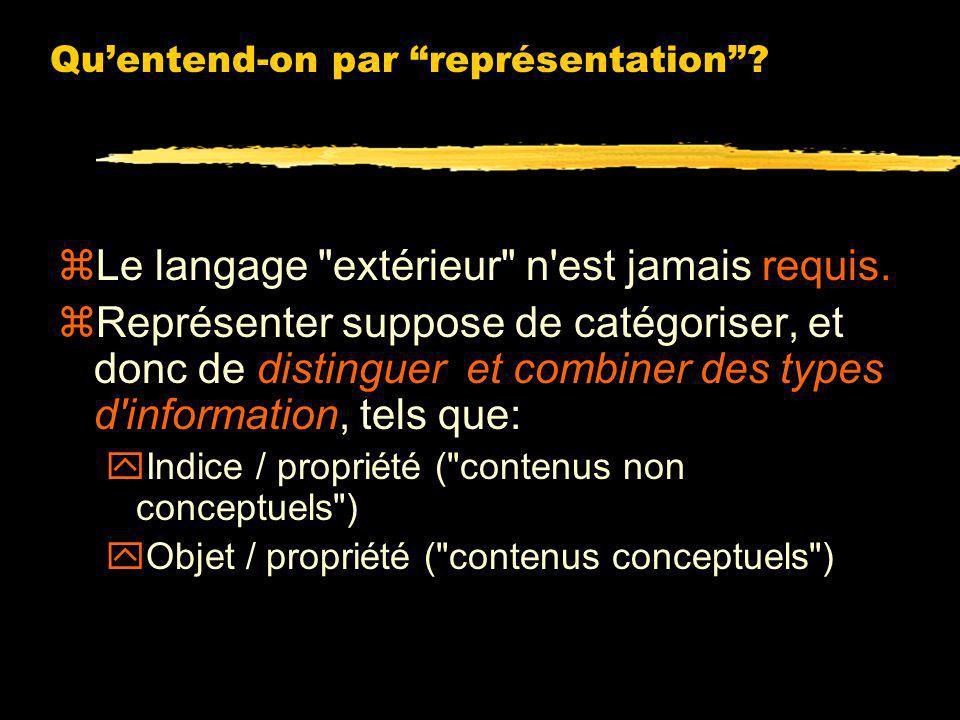 Quentend-on par représentation? zUne représentation a-t-elle nécessairement une structure langagière ? zAmbiguité de la question