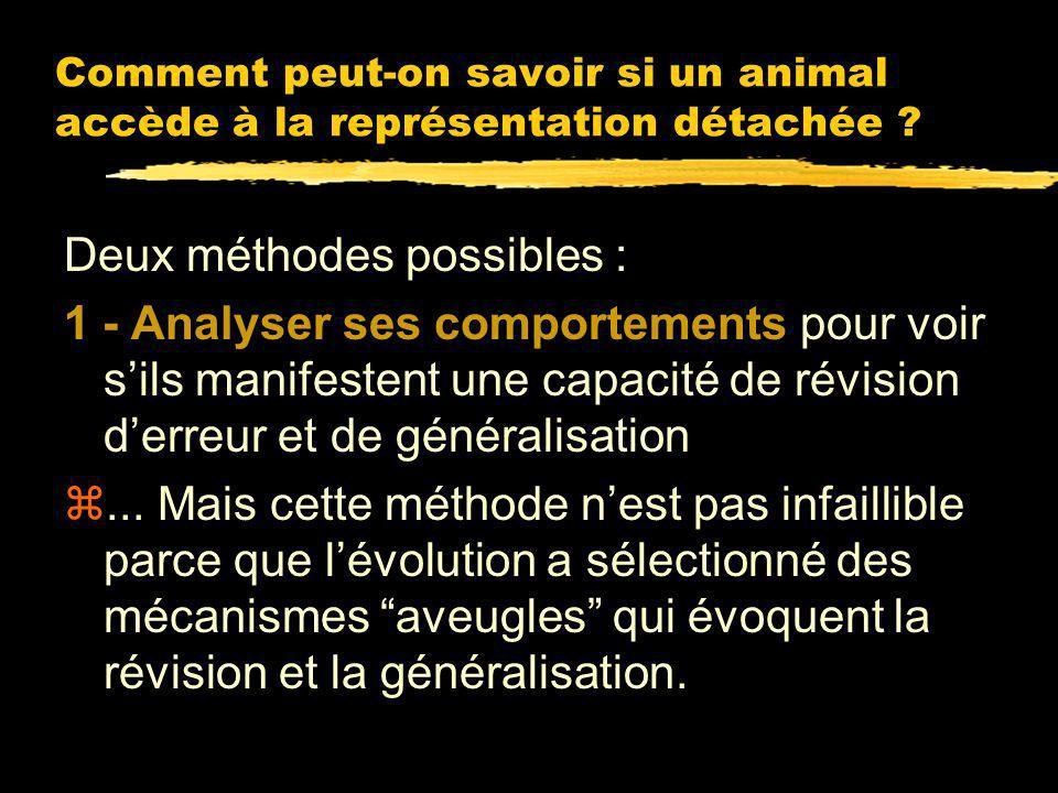 La pensée passe par des représentations détachées 2 - La pensée exige la généralisation: Appliquer un concept suppose de classer des objets connus ou