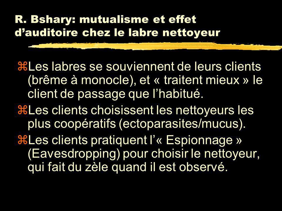 BSHARY & GRUTTER, Nature, (2006) zNettoyeur: Labroides dimidiatus (labre nettoyeur) zClient: Scolopsis bilineatus (Brême à monocle).
