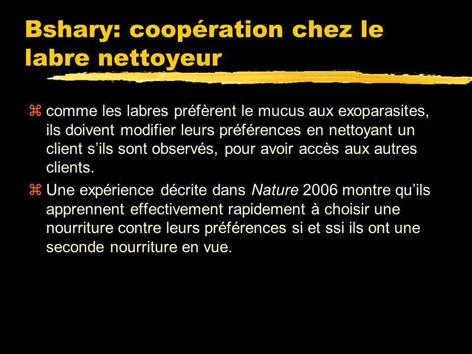 R. Bshary: mutualisme et effet dauditoire chez le labre nettoyeur zLes labres se souviennent de leurs clients (brême à monocle), et « traitent mieux »