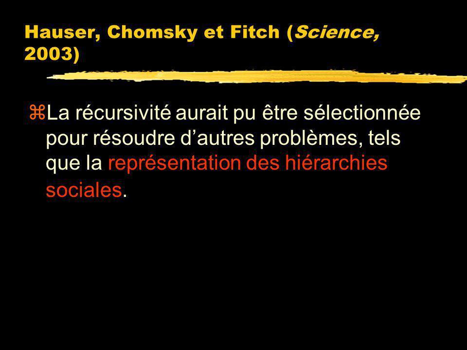 Fonction du langage ? Hauser, Chomsky et Fitch (Science, 2003) zLa complexité du langage provient de celle de ses éléments périphériques, présents dan