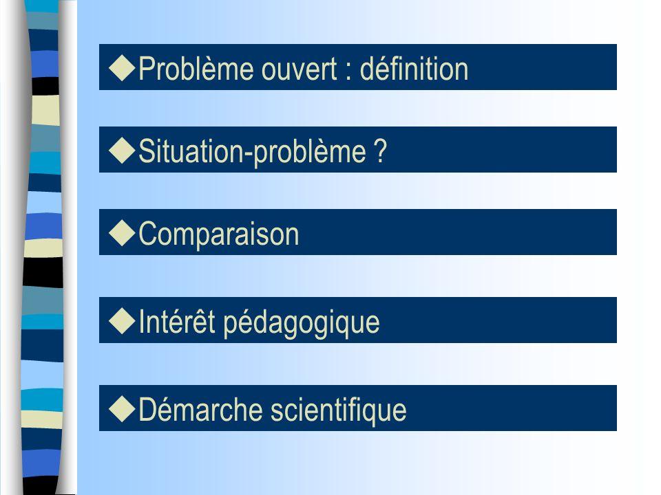Problème ouvert : définition Situation-problème ? Intérêt pédagogique Démarche scientifique Comparaison