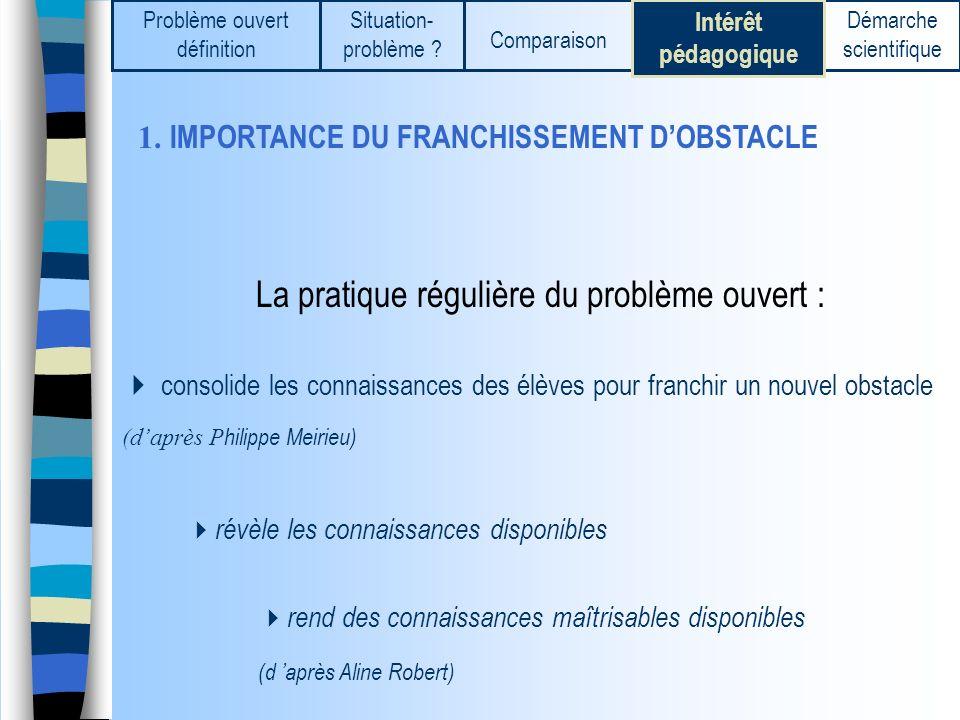 1. IMPORTANCE DU FRANCHISSEMENT DOBSTACLE La pratique régulière du problème ouvert : consolide les connaissances des élèves pour franchir un nouvel ob