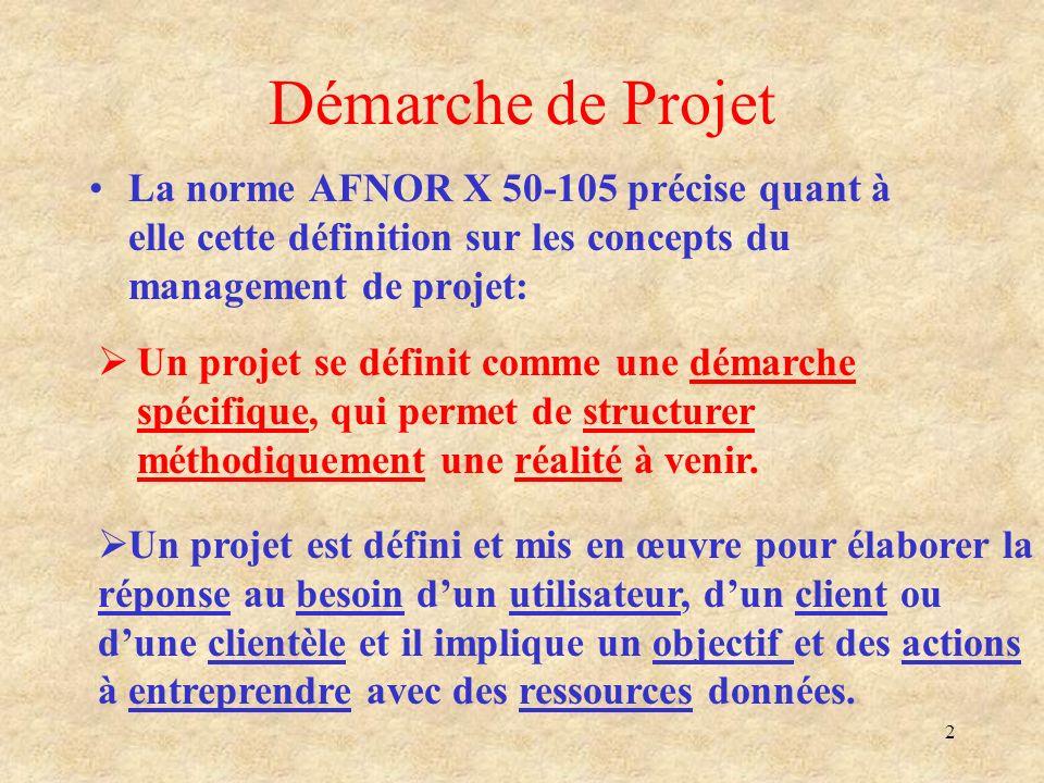 2 Démarche de Projet La norme AFNOR X 50-105 précise quant à elle cette définition sur les concepts du management de projet: Un projet se définit comm