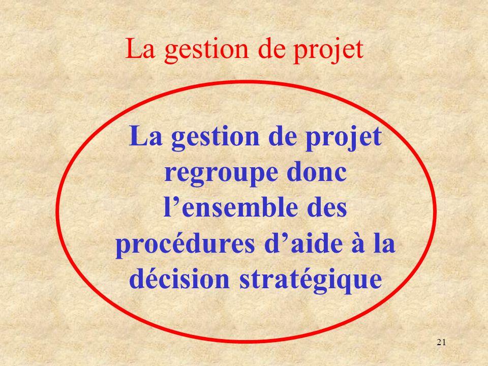 21 La gestion de projet La gestion de projet regroupe donc lensemble des procédures daide à la décision stratégique