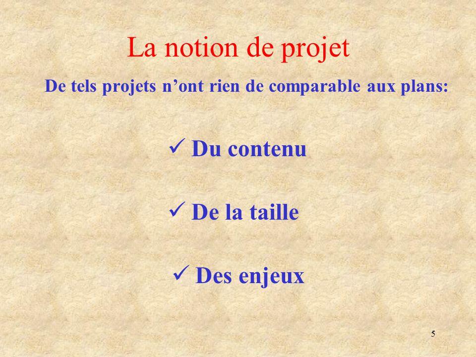 5 La notion de projet De tels projets nont rien de comparable aux plans: Du contenu De la taille Des enjeux