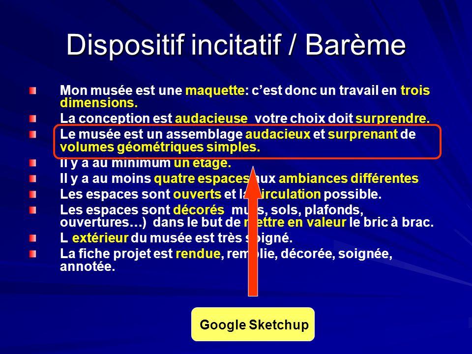 Dispositif incitatif / Barème Mon musée est une maquette: cest donc un travail en trois dimensions.