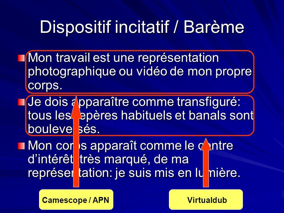 Dispositif incitatif / Barème Mon travail est une représentation photographique ou vidéo de mon propre corps.