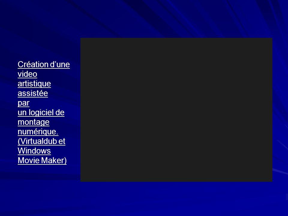 Création dune video artistique assistée par un logiciel de montage numérique.