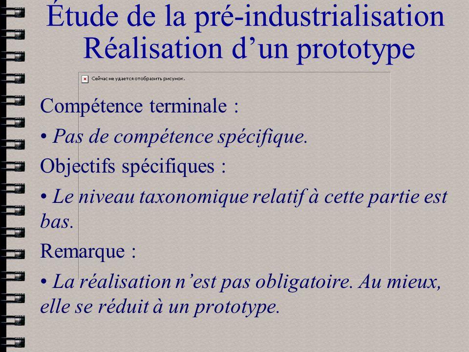 Étude de la pré-industrialisation Réalisation dun prototype Compétence terminale : Pas de compétence spécifique. Objectifs spécifiques : Le niveau tax