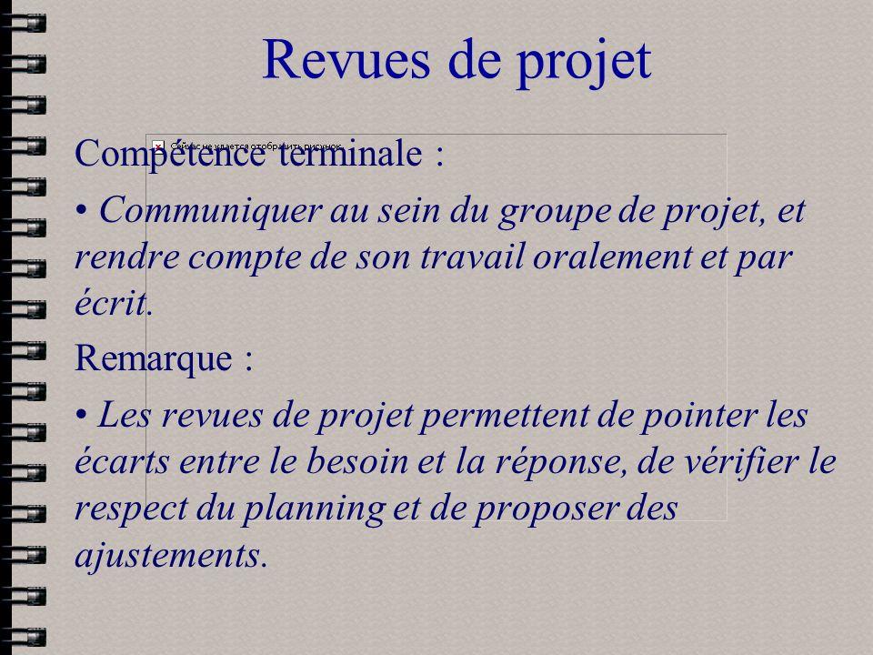Revues de projet Compétence terminale : Communiquer au sein du groupe de projet, et rendre compte de son travail oralement et par écrit. Remarque : Le