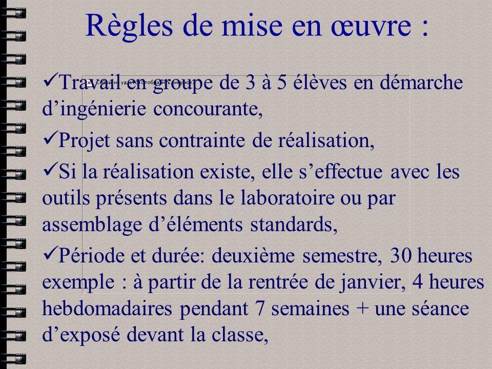 Règles de mise en œuvre : Travail en groupe de 3 à 5 élèves en démarche dingénierie concourante, Projet sans contrainte de réalisation, Si la réalisat