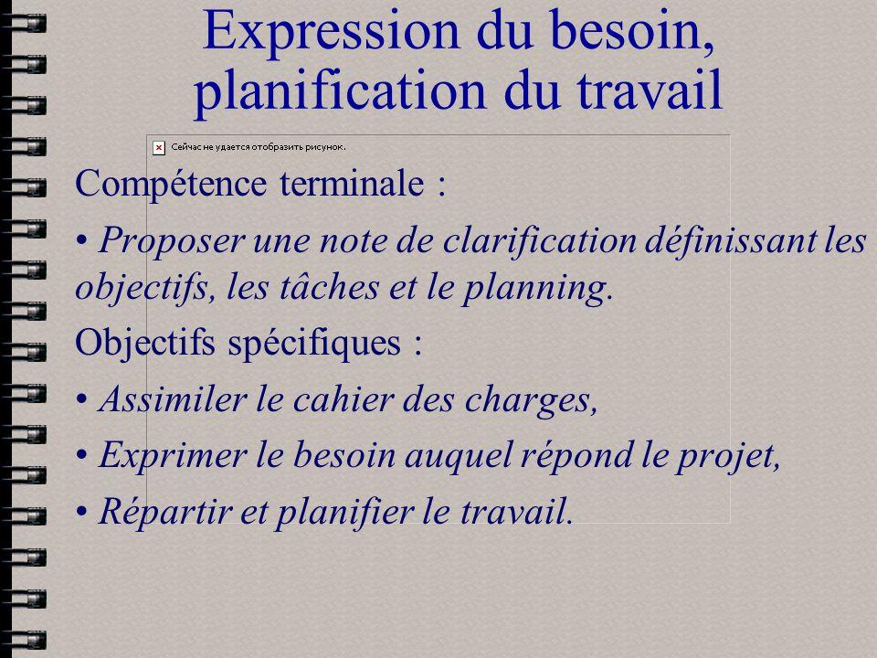 Expression du besoin, planification du travail Compétence terminale : Proposer une note de clarification définissant les objectifs, les tâches et le p