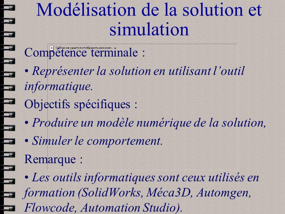 Modélisation de la solution et simulation Compétence terminale : Représenter la solution en utilisant loutil informatique. Objectifs spécifiques : Pro