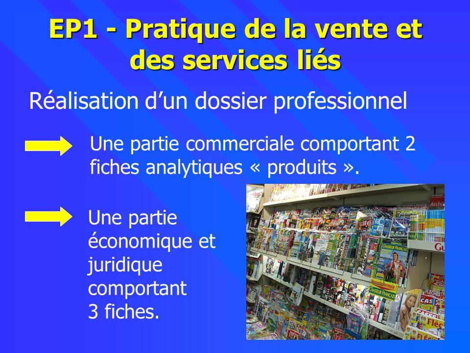 10 EP1 - Pratique de la vente et des services liés Réalisation dun dossier professionnel Une partie commerciale comportant 2 fiches analytiques « produits ».