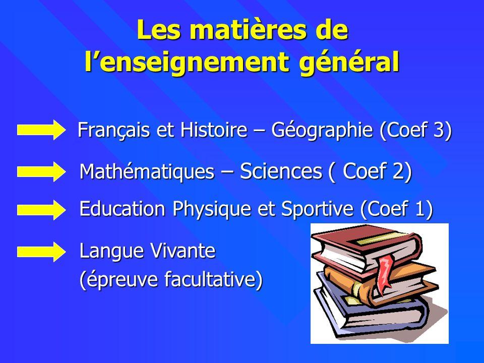 11 Les matières de lenseignement général Français et Histoire – Géographie (Coef 3) Mathématiques – Sciences ( Coef 2) Education Physique et Sportive (Coef 1) Langue Vivante (épreuve facultative)
