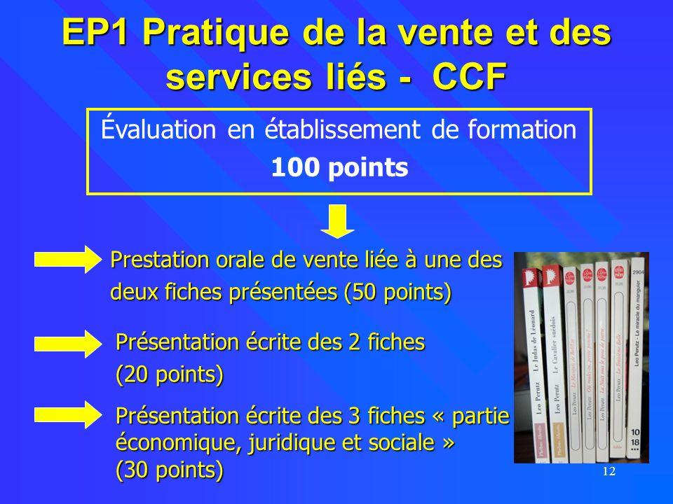 12 EP1 Pratique de la vente et des services liés - CCF Évaluation en établissement de formation 100 points Prestation orale de vente liée à une des de