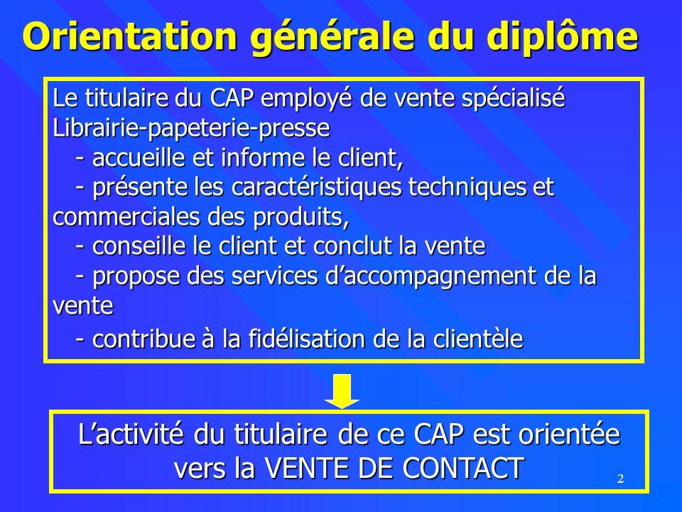2 Orientation générale du diplôme Le titulaire du CAP employé de vente spécialisé Librairie-papeterie-presse - accueille et informe le client, - prése
