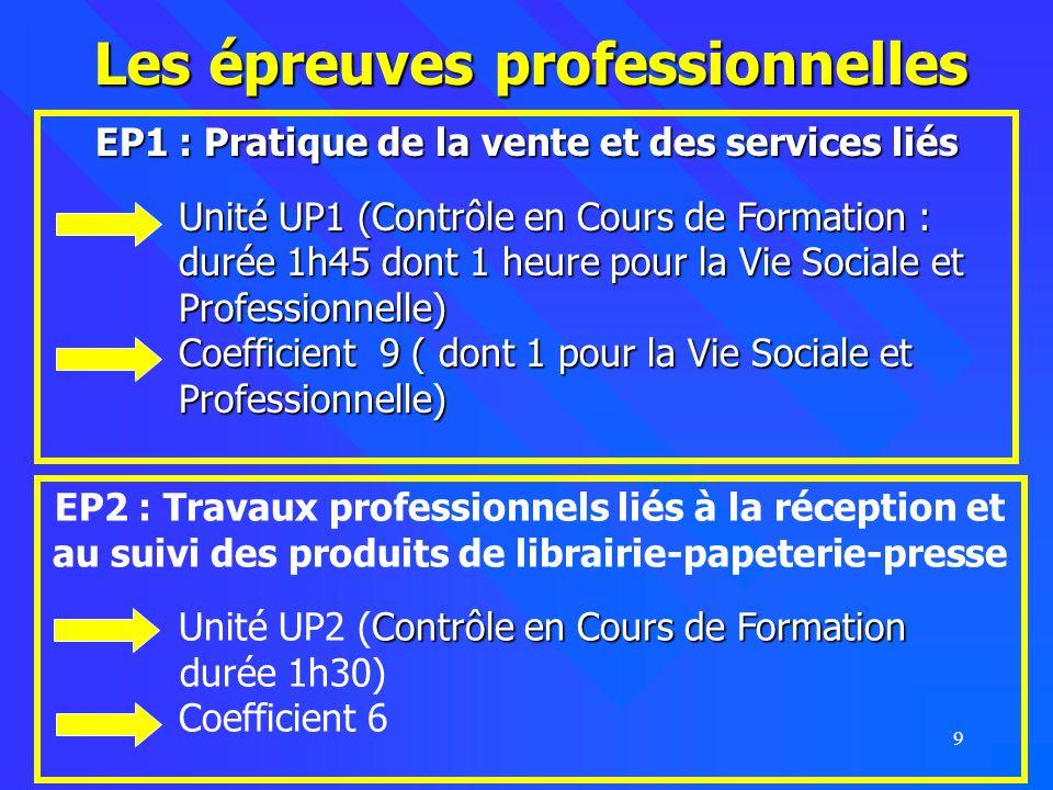 9 Les épreuves professionnelles EP2 : Travaux professionnels liés à la réception et au suivi des produits de librairie-papeterie-presse Unité UP2 (Con