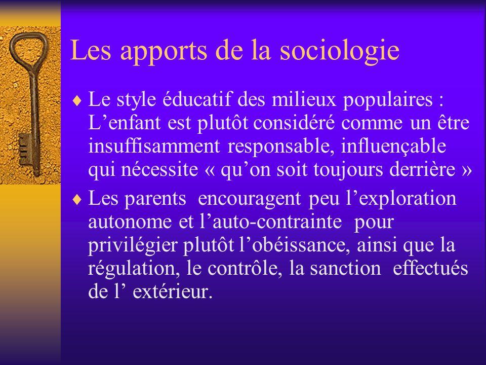 Les apports de la sociologie Le style éducatif des milieux populaires : Lenfant est plutôt considéré comme un être insuffisamment responsable, influen