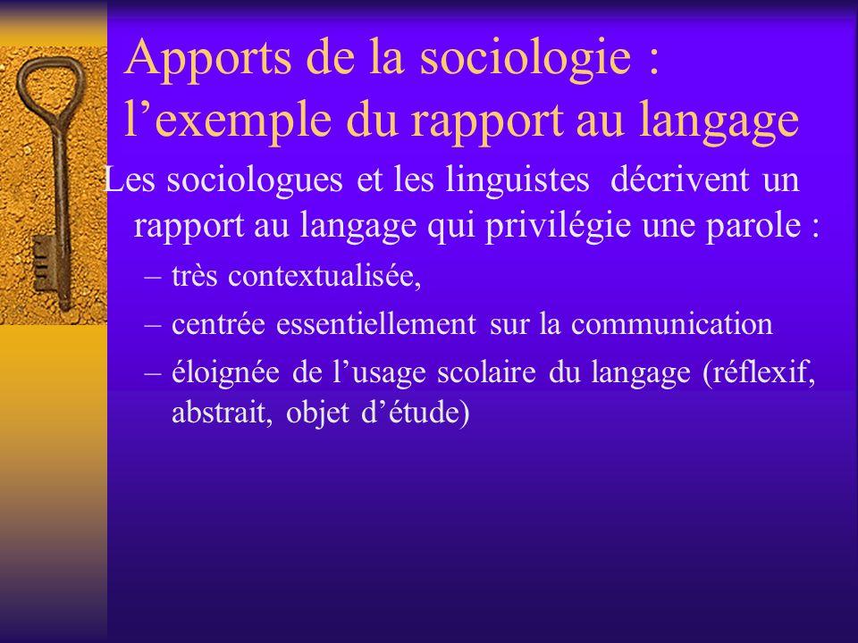 Apports de la sociologie : lexemple du rapport au langage Les sociologues et les linguistes décrivent un rapport au langage qui privilégie une parole
