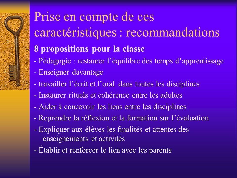 Prise en compte de ces caractéristiques : recommandations 8 propositions pour la classe - Pédagogie : restaurer léquilibre des temps dapprentissage -
