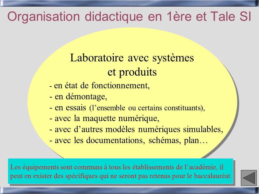 Cycles de travaux pratiques Organisation didactique en 1ère et Tale SI - Cycle dactivités sur les 12 centres dintérêt liés aux contenus, concepts et fonctions étudiés en Sciences de lingénieur, - Chaque centre dintérêt est subdivisé en thèmes (44 thèmes), - TPs dune durée de 2 h suivi dune synthèse de 1 à 2 h, - Chaque TP est construit à partir dun scénario (conception, re- conception, mise au point, modification), - Il peut exister quelques séances avec un mode dorganisation différent (TP de 1 à 3 h…).