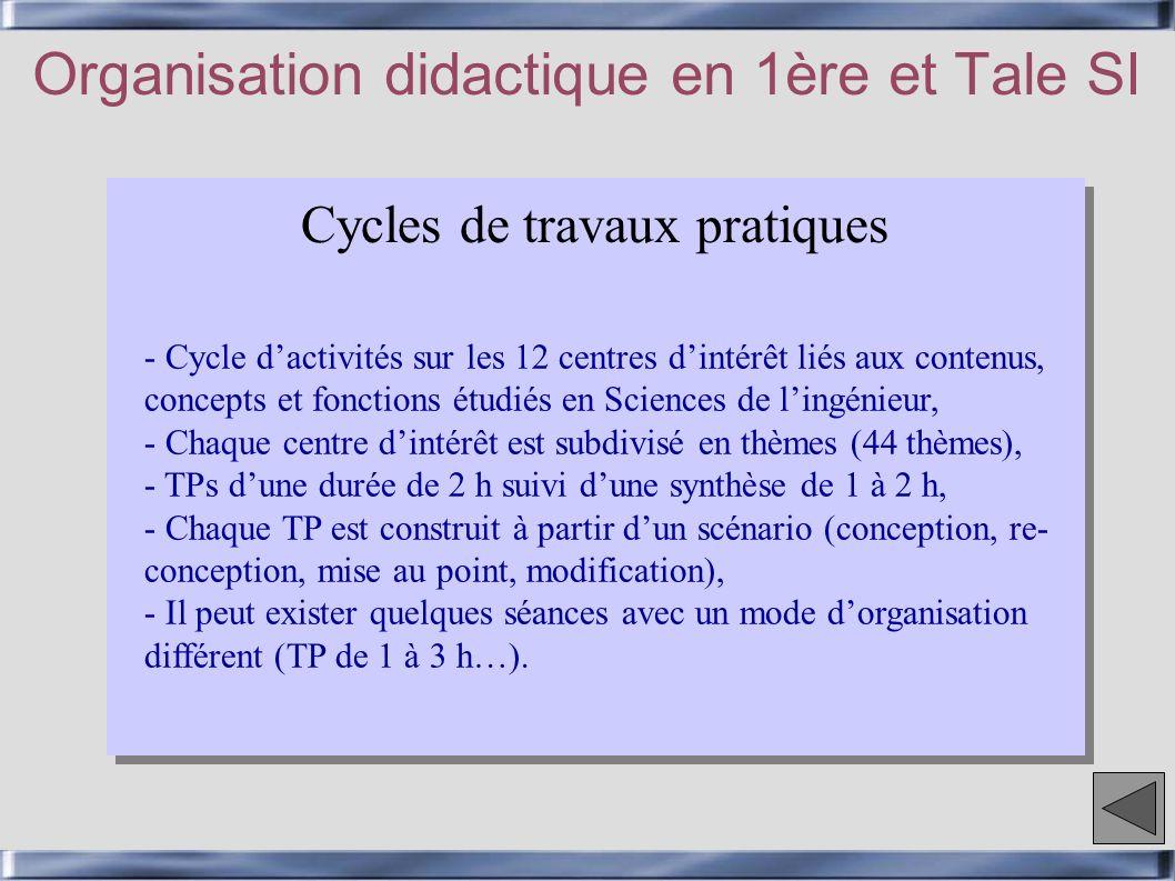 Cycles de travaux pratiques Organisation didactique en 1ère et Tale SI - Cycle dactivités sur les 12 centres dintérêt liés aux contenus, concepts et f