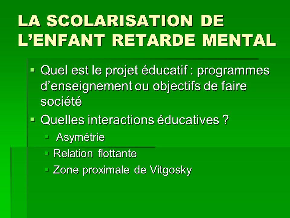 LA SCOLARISATION DE LENFANT RETARDE MENTAL Quel est le projet éducatif : programmes denseignement ou objectifs de faire société Quel est le projet édu