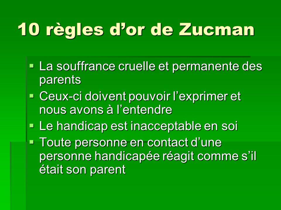 10 règles dor de Zucman La souffrance cruelle et permanente des parents La souffrance cruelle et permanente des parents Ceux-ci doivent pouvoir lexpri