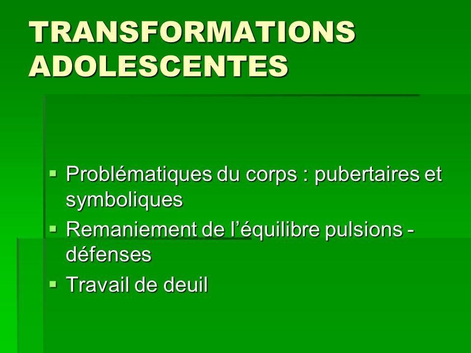 TRANSFORMATIONS ADOLESCENTES Problématiques du corps : pubertaires et symboliques Problématiques du corps : pubertaires et symboliques Remaniement de
