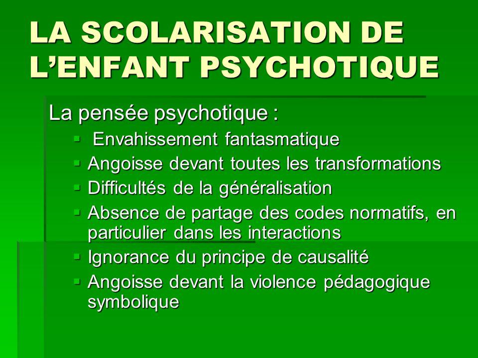 LA SCOLARISATION DE LENFANT PSYCHOTIQUE La pensée psychotique : Envahissement fantasmatique Envahissement fantasmatique Angoisse devant toutes les tra