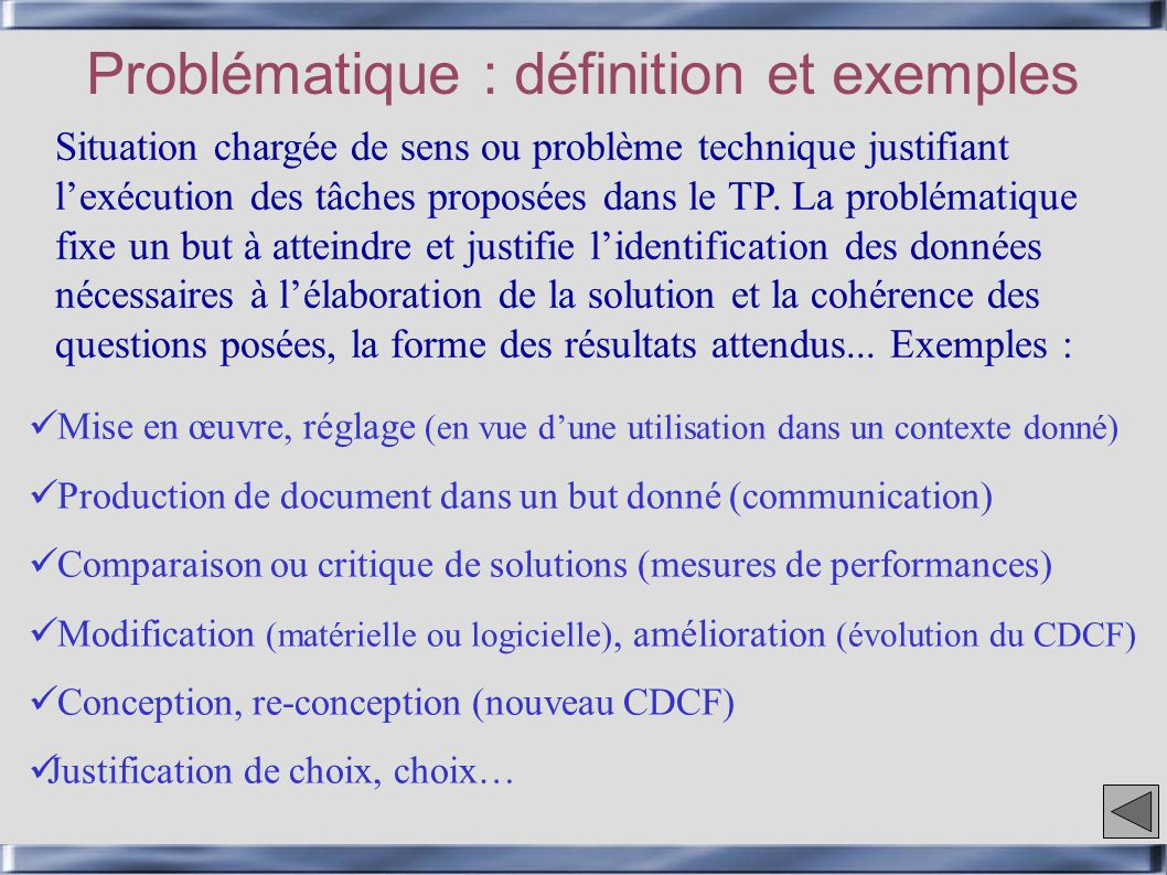 Problématique : définition et exemples Mise en œuvre, réglage (en vue dune utilisation dans un contexte donné) Production de document dans un but donn