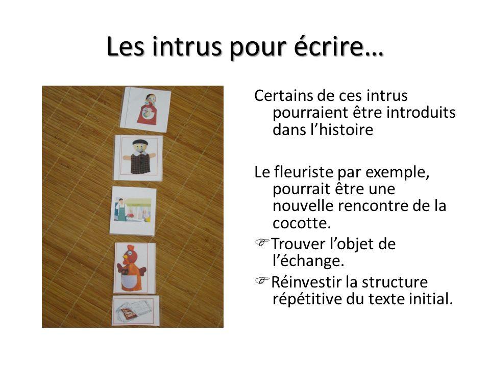 Les intrus pour écrire… Certains de ces intrus pourraient être introduits dans lhistoire Le fleuriste par exemple, pourrait être une nouvelle rencontr