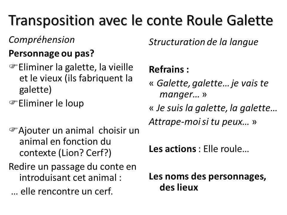 Transposition avec le conte Roule Galette Compréhension Personnage ou pas? Eliminer la galette, la vieille et le vieux (ils fabriquent la galette) Eli