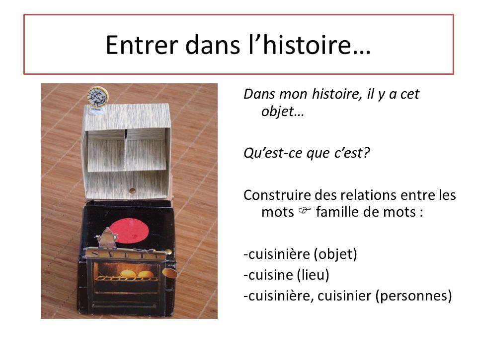Entrer dans lhistoire… Dans mon histoire, il y a cet objet… Quest-ce que cest? Construire des relations entre les mots famille de mots : -cuisinière (