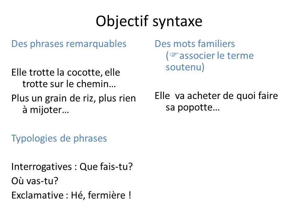 Objectif syntaxe Des phrases remarquables Elle trotte la cocotte, elle trotte sur le chemin… Plus un grain de riz, plus rien à mijoter… Typologies de