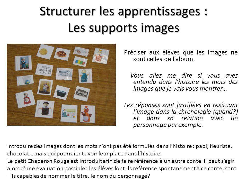 Structurer les apprentissages : Les supports images Préciser aux élèves que les images ne sont celles de lalbum. Vous allez me dire si vous avez enten