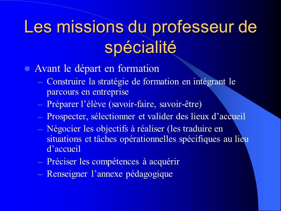 Les missions du professeur de spécialité Avant le départ en formation – Construire la stratégie de formation en intégrant le parcours en entreprise –