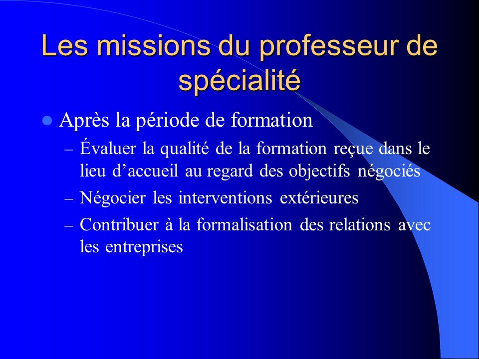 Les missions du professeur de spécialité Après la période de formation – Évaluer la qualité de la formation reçue dans le lieu daccueil au regard des